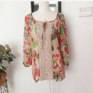 Anthropologie Meadow Rue Floral Multi Color Top
